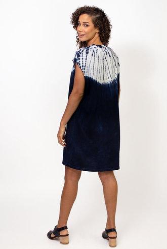 Raquel Allegra Sleeveless T-Shirt Dress Tie Dye Indigo/White Hilma