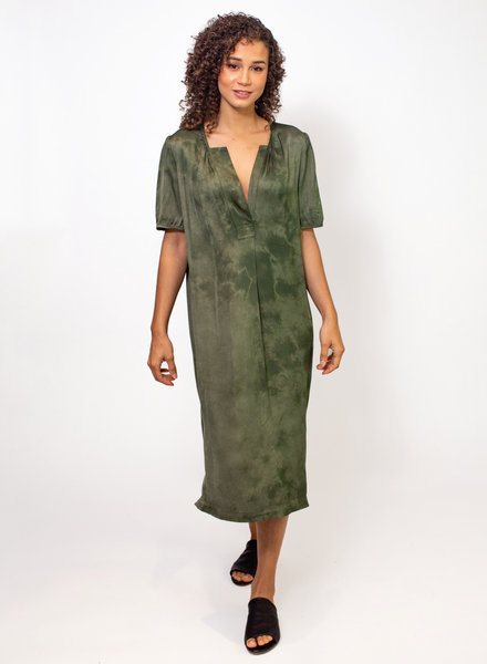 Raquel Allegra Lilakoi Dress Tie Dye Army  Cloudwash
