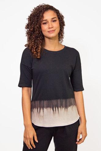 Raquel Allegra Basic Tee Black Horizon Tie Dye