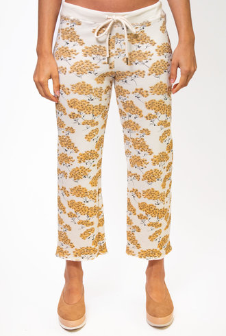 The Great The Cropped Wide Leg Sweatpant Chamomille Floral