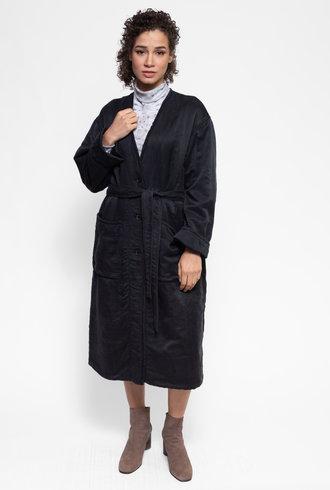 Raquel Allegra Long Quilted Coat Black