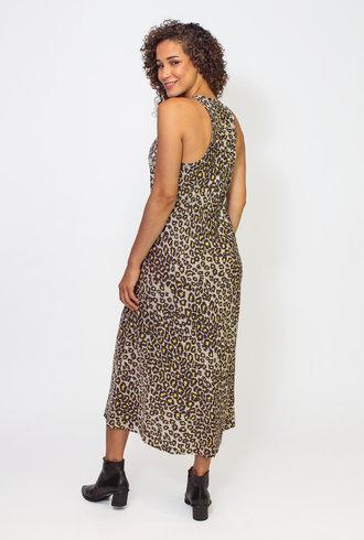Raquel Allegra Leopard Silk Cotton Sateen Anais Dress