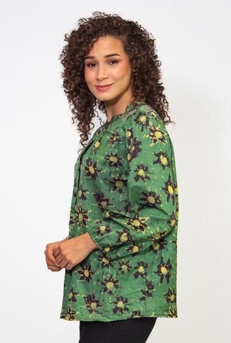 Raquel Allegra Stars Silk Cotton Sateen Sia Blouse