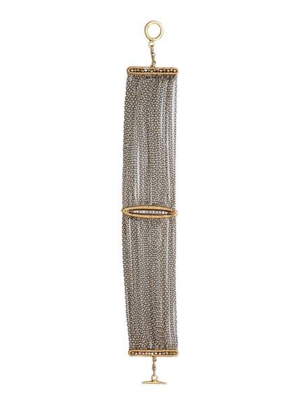 Dana Kellin Fine Pave Diamond  Bar Wrapped in 14k Gold with Multi-strand Chain Bracelet