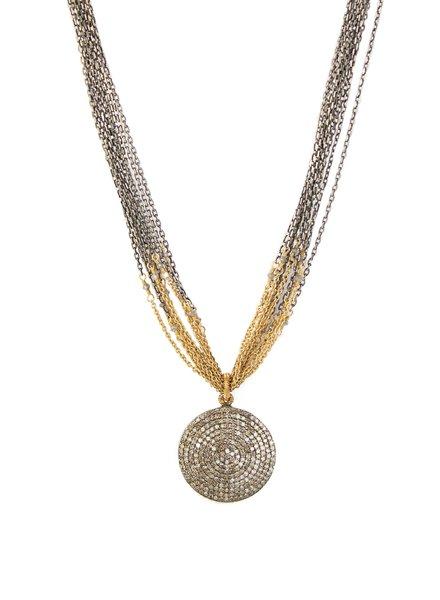 Dana Kellin Fine Pave Diamond Multi-strand Necklace with 14k Gold Mix