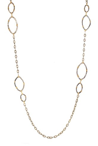 Dana Kellin Fine Hammered Silver Chain with 14K Gold Wrapped Links Necklace