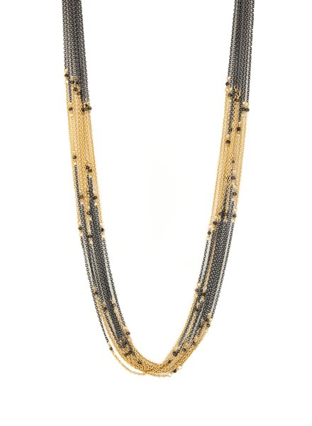 Dana Kellin Fine Black Diamond Beaded Silver and 14k Gold Necklace