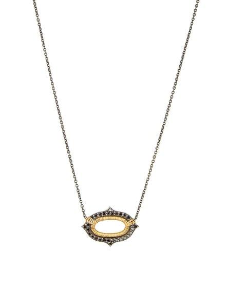 Dana Kellin Fine Black Diamond with 14k Gold on Dark Sliver Necklace