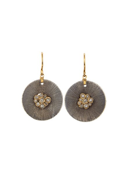Dana Kellin Fine Circular Dark Sliver, Diamonds and Labradorite Earrings
