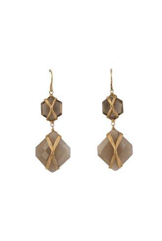 Dana Kellin Fine Beige Moonstone, Smokey Quartz and 14k Gold Earrings