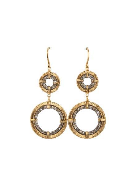 Dana Kellin Fine Circular 14k Gold Wrapped Diamond Drop Earrings