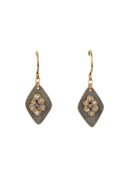 Dana Kellin Fine Diamond, Labradorite, Silver Plate and 14k Gold Earrings