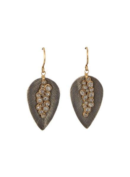 Dana Kellin Fine Diamond, Labradorite, Silver Plate and 14k Gold Leaf Shaped Earrings