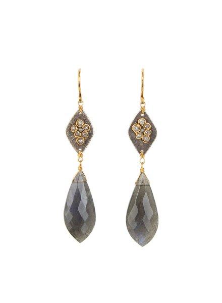 Dana Kellin Fine Diamond, Labradorite, Silver and 14k Gold Earrings