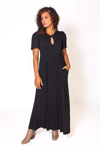 Raquel Allegra Flutter Dress Black