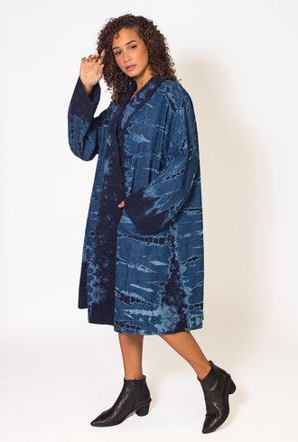 Raquel Allegra Navy Storm Tie Dye Swing Coat