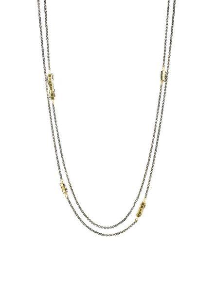 Dana Kellin Fashion Double Two Tone Hematite Beaded Necklace