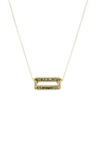 Dana Kellin Fashion Two Tone Open Rectangle Techno Beaded Necklace