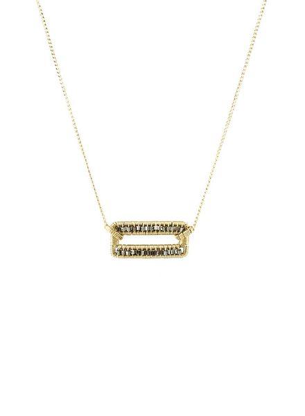 Dana Kellin Fashion Two Tone Open Rectangle Techno Beaded Necklace
