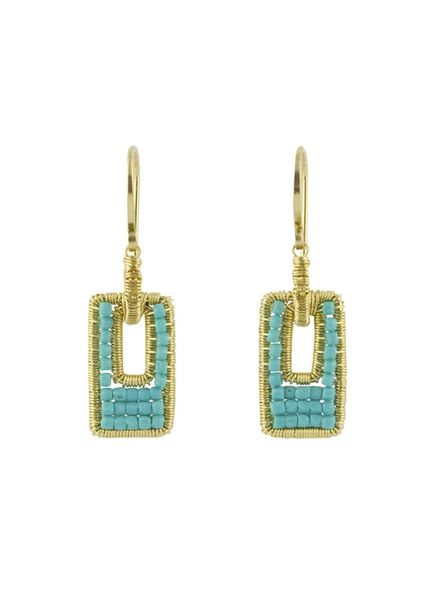 Dana Kellin Fashion Open Rectangle Turquoise Earrings