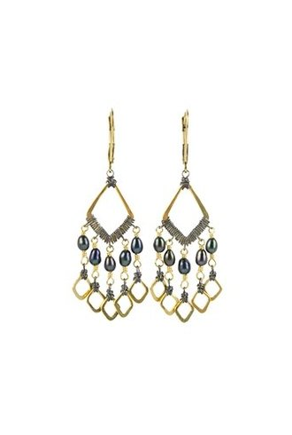 Dana Kellin Fashion Small Black Pearl Multi Dangle Earrings