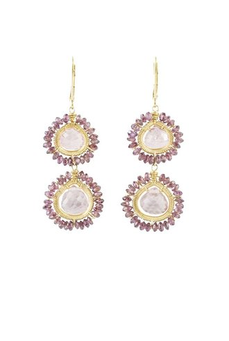 Dana Kellin Fashion Pink Quartz and Garnet Earrings