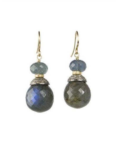 Dana Kellin Fine 14k Pave Diamond, Moss Aqua and Labradorite Earrings