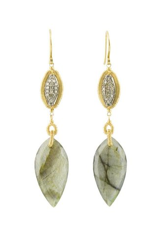 Dana Kellin Fine 14k Framed Pave Diamond and Labradorite Earrings