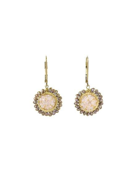 Dana Kellin Fashion Pink Quartz and Pearl Earrings