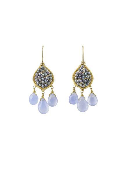 Dana Kellin Fashion Periwinkle Mix Gold Earrings