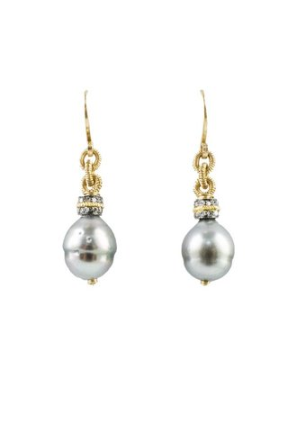 Dana Kellin Fine Tahitian Pearl and Diamond Earrings