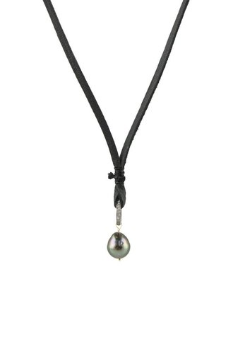 Renee Garvey Tahitian Pearl Diamond Ring Necklace