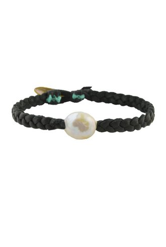 Renee Garvey Braided Leather Pearl Bracelet