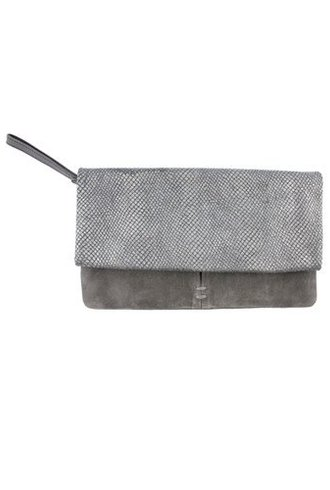 Roan Folded Clutch Grey Metallic Snake