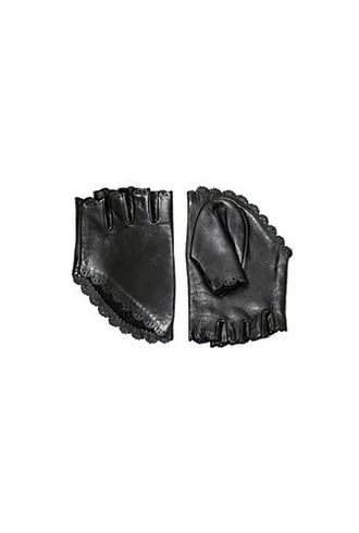 Catherine Osti Clothilde Leather Mittens Black