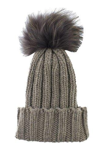 Inverni Knit Pompom Hat