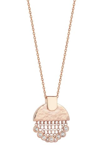 KISMET by Milka Le Soleil Tassels Small Necklace White Diamond