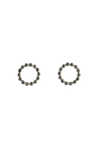 KISMET by Milka Bihter Black Diamond Open Circle Earrings