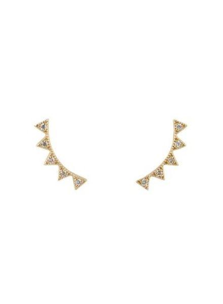 KISMET by Milka White Diamond Crown Ear Cuffs