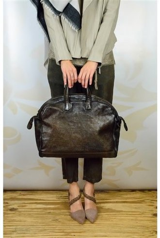 Majo Dot Textured Leather Doctor Bag Chocolate