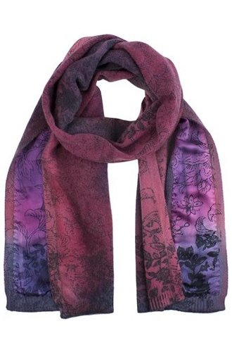 MA+CH Wallpaper Print Silk Trim Scarf Eggplant