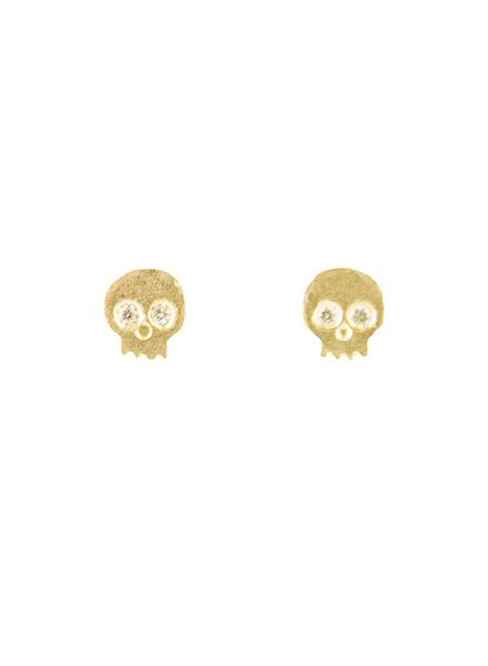 Victoria Cunningham 14k Diamond Skull Earrings