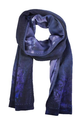 MA+CH Silk Backed Scarf Brocade Ink