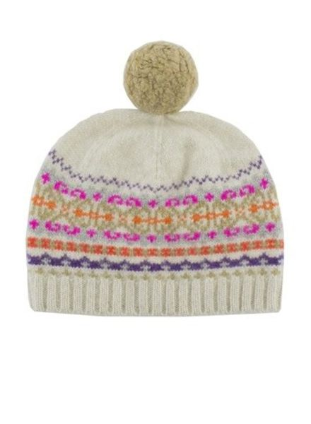 New Scotland Fairisle Pompom Hat Oatmeal