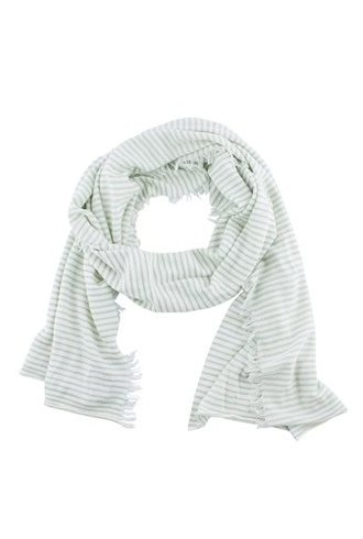 New Scotland Mini Stripe Linen Blend Scarf Mint Ecru
