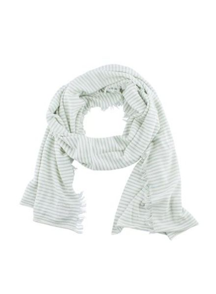 New Scotland Mini Stripe Linen Blend Scarf Mint/Ecru