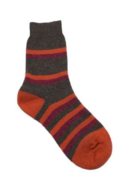 Pantherella Selma Wool Stripe Socks Dark Coffee/Orange