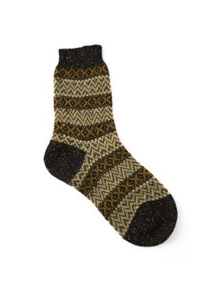 Pantherella Rosedale Fairisle Socks Dark Peat