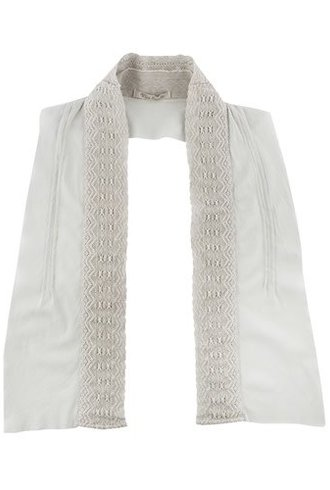 Vlas Blomme Overdyed Collar and Stole Light Grey