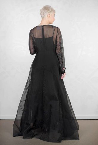 Gary Graham Patched Organza Maxi Dress Black